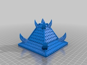 "Tall Pyramid Rooftop with Chaos Spikes 4"" x 4"" for 25/28mm Fantasy Buildings"