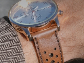 Laser cut rallye style watch band / strap with precut holes and engraved stitching line