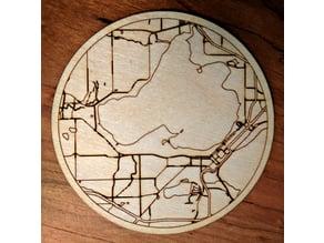 Laser cut coaster of Lake Mendota