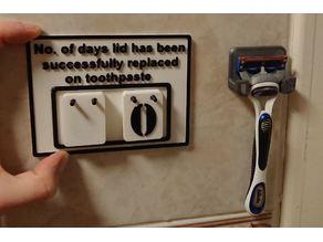 Toothpaste Lid Bathroom Sign