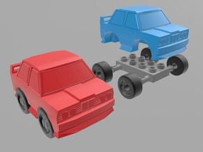 Low Poly Rally Car (with wheels)