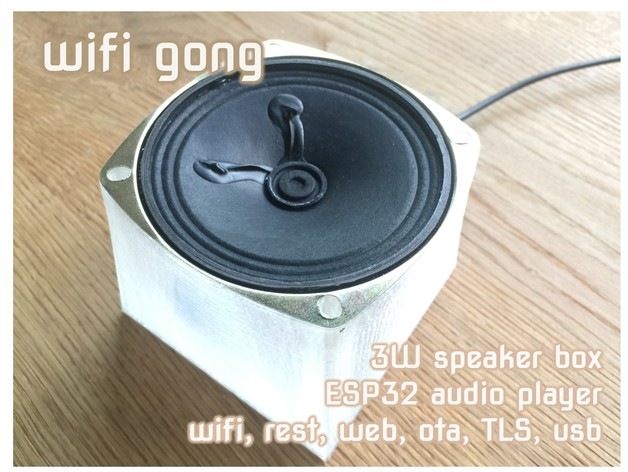 Wifi Doorbell Gong Audio Player in 3W speaker box, REST