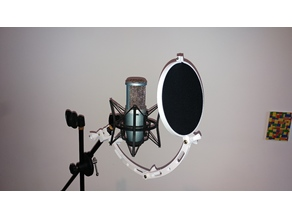 Complete Pop filter / Wind screen with clamp for mic stand