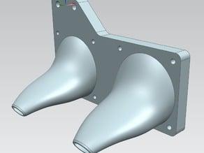 Lulzbot dual extruder double fan mount