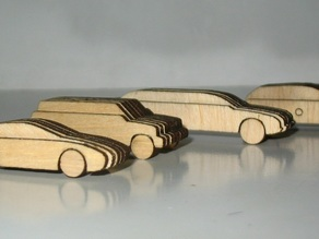 laser cut out wooden 1:100 scale cars