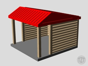 Log Cabin, Lean In Shelter, (HO, O, N scale model railroad layout)
