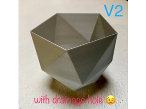 Twisted polygonal 5 faces vase with draining hole