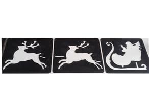 Xmas stencil - Pochoir de Noël - Santa's sleigh