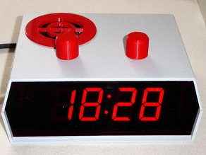 Efficient alarm clock with low electromagnetic radiation, big display and music player