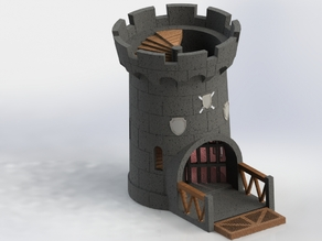 Castle dice tower with moveable gate