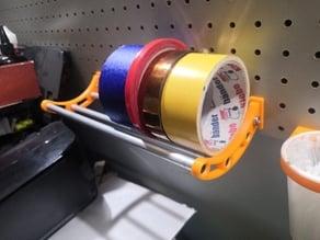 Pegboard tape rolls shelf (25mm pitch, 5mm holes)