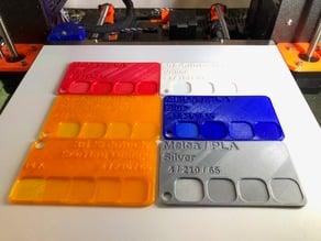 Filament Sample Card - Customizable SCAD