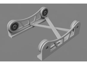 Adjustable TUSH-style spool holder with a scissor mechanism.