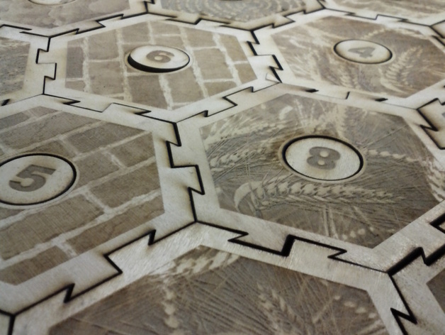Wood cut laser catan