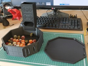 Dice Tray, Tower, and Latching Lid - War Gaming Terrain and Blank Themes