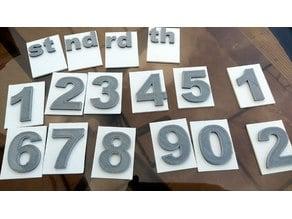 Single numbers on back-plate.