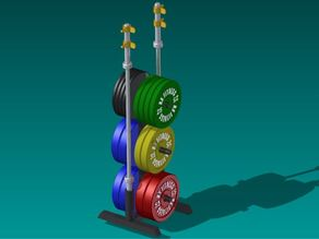 Desktop Olympic Weight Set (Bumper Plates, Barbell, Clips & Weight Tree)