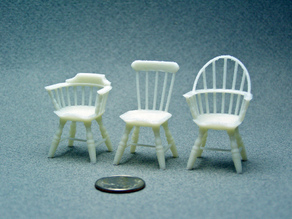 Three 1:24 Windsor Chairs