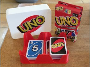 Card Game Deck Holder and Storage Box with Example Uno Logo.