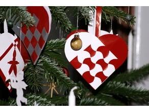 Pleated Christmas heart / Julehjerte