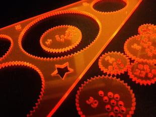 Laser-cut hypotrochoid spirograph-like drawing toy