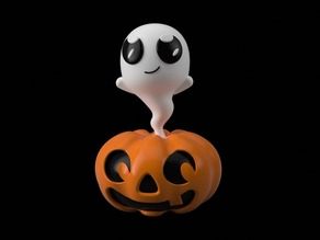 Pumpkin Ghost Figure