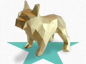 Dogo - DIY folding kit for a beautifull geometric low poly diamond style French Bulldog