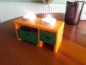 Mini stove tealight candle holder with matches and trash bin