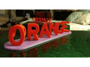 ORANGE PURPLE  Illusion Perspective Dual Letters