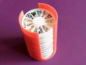 Cylindrical Holder for Small Round Disks Full of Glitter
