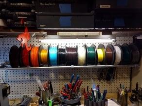 Filament Spool Storage Shelf Bracket for Peg Board