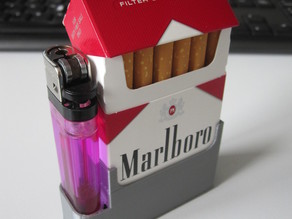 Cigarette pack + lighter holder