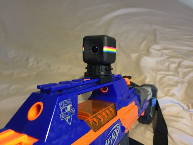 Polaroid Cube case to Nerf blaster tactical rail by reddcube - Thingiverse