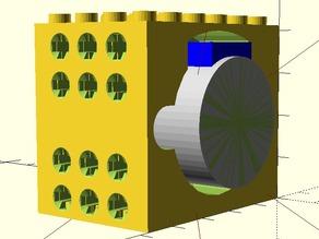 Lego-like motor mount for 28BYJ-48 Stepper Motor (improved)
