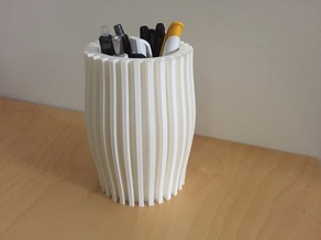 Ribbed pencil holder