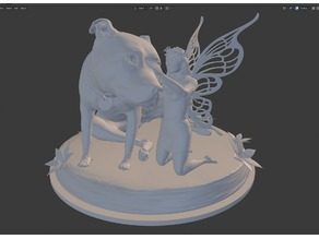 Fairy with Dog Statuette