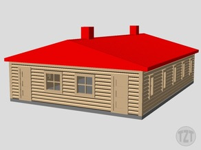 Log Cabin, House, (HO, O, N scale model railroad layout)