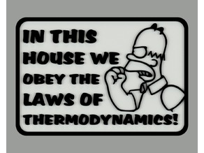 In this house we obey the laws of thermodynamics! sign