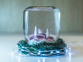 DIY snow globe in a Nutella jar  - Christmas decor
