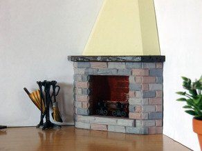 Corner Fireplace for Dollhouse 1:12 scale