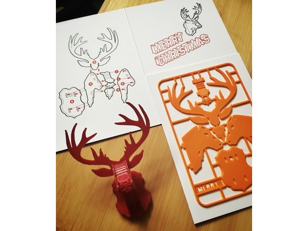 christmas reindeer kit card by tone001 thingiverse - Christmas Reindeer Pictures