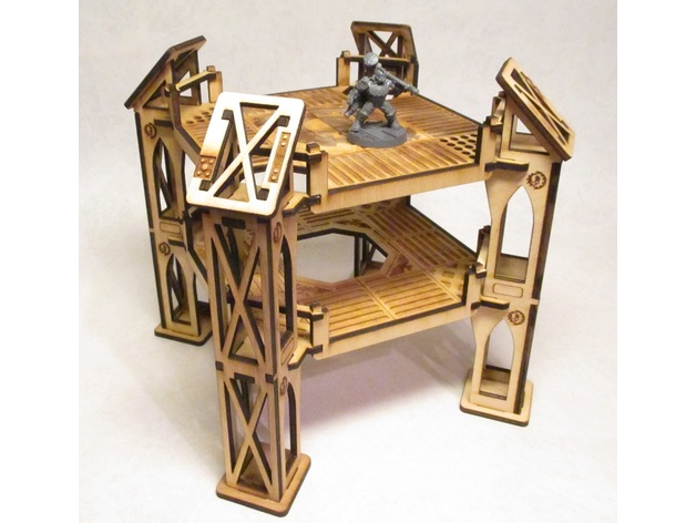 Level 2 wide octagonal building for 3mm laser cut MDF by