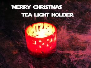 Merry Christmas tea light holder: Star Wars font