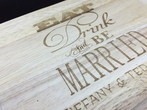 Laser Engraved Cheese Board Set for a Wedding