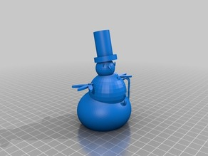 Snowman in tophat with candy cane