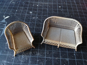 1:24 Wicker Furniture Set