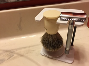 Adjustable safety razor and brush stand
