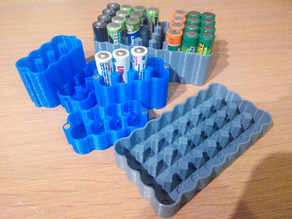 Yet another AA/AAA battery case 1x4 2x4 3x4 4x4 2x3 2x2 6x8 8x4 10x4 12x4 - Mk2 and Mk3 parametric