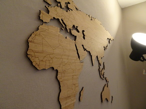 World map bamboo lasercut simplified worldmap