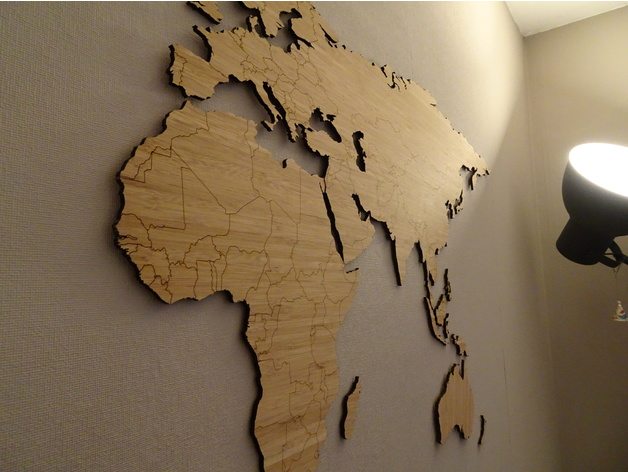 World map bamboo lasercut simplified worldmap by bazzz thingiverse gumiabroncs Choice Image